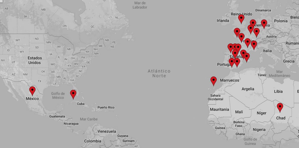 Mapa de ubicaciones de proyectos de acero realizados por Industrias del acero Cianco