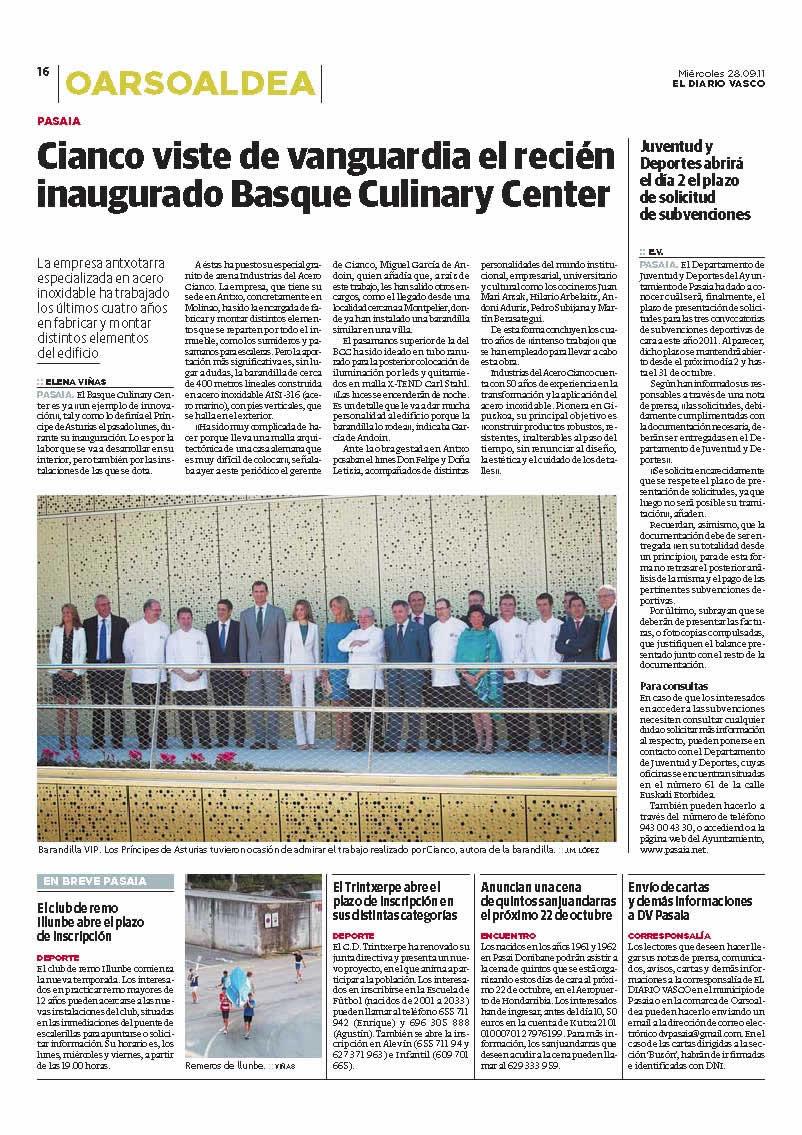 Barandillas en acero inoxidable iluminada con leds para el Basque Culinary Center